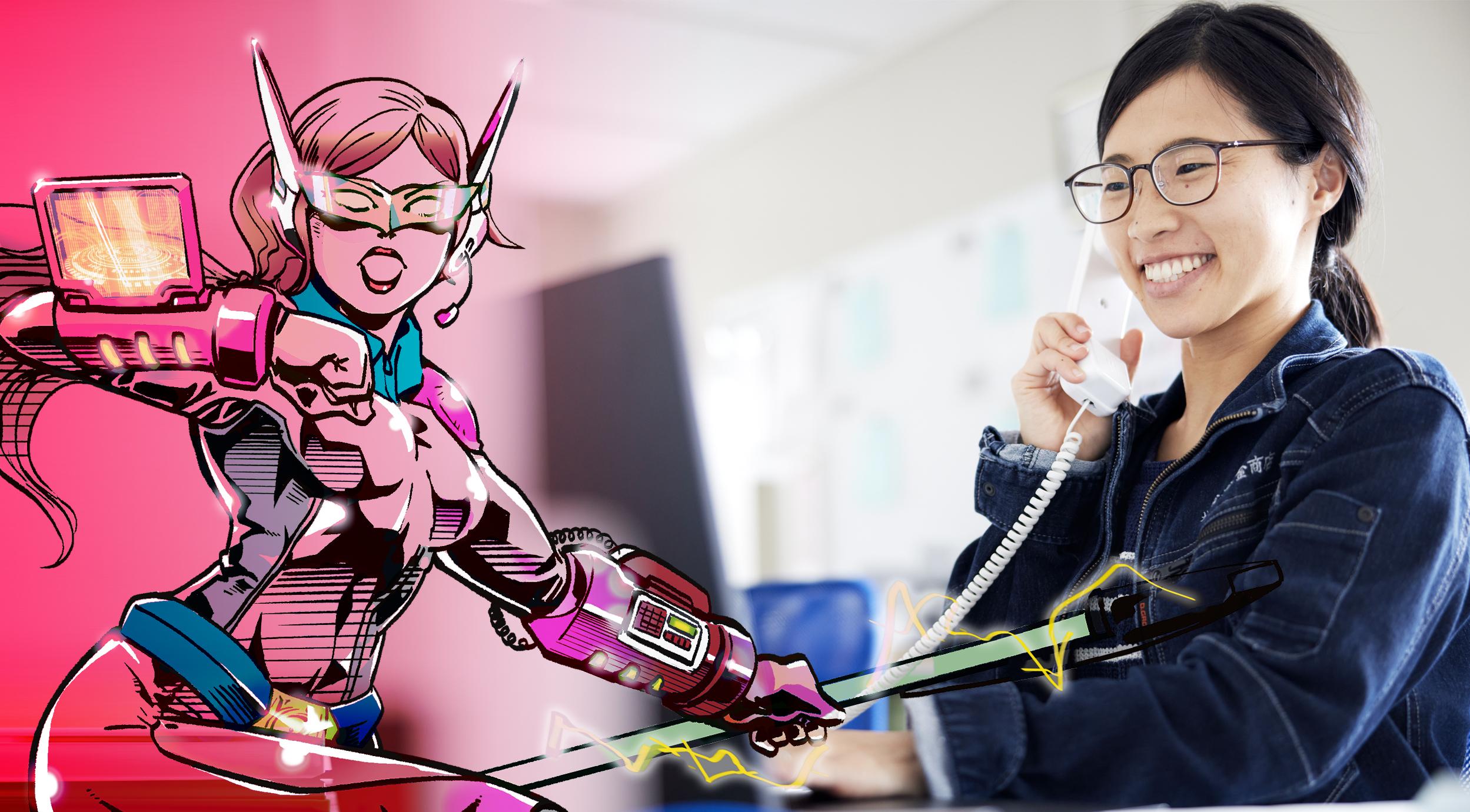 ネットワークを駆使して営業をサポートする資材部社員=アメコミヒーロー(ピンク)